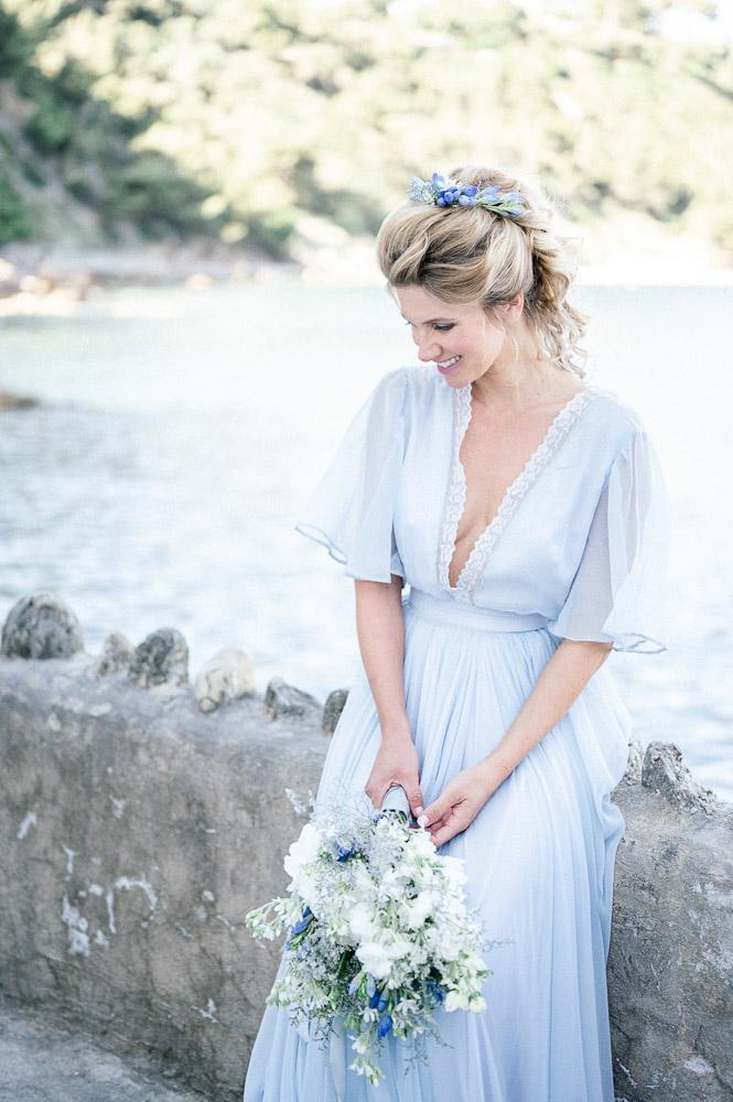 Mariée en bord de mer photograohiée par Sylvia Calmet