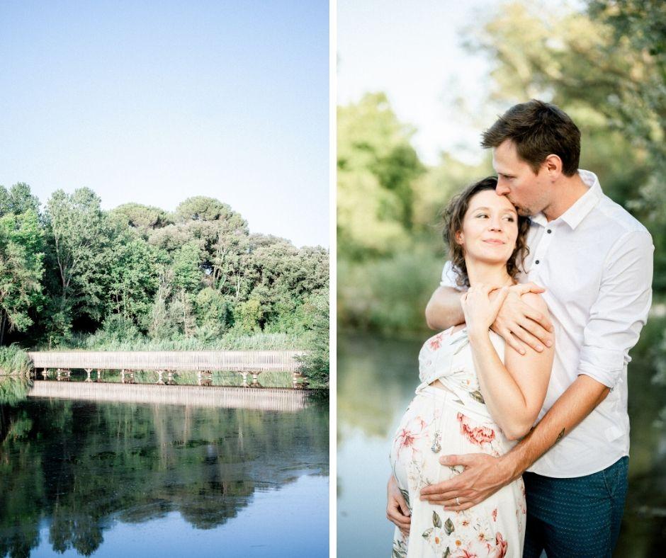 Couple dans le parc de la fontaine Marie Rose à Grans pour leur séance grossesse réalisée par Sylvia Calmet photographe de famille à Salon de Provence