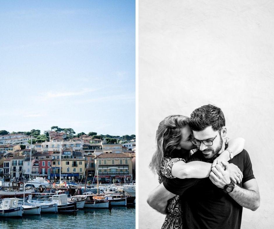 Couple en séance engagement dans Cassis dans le sud de la France en Provence