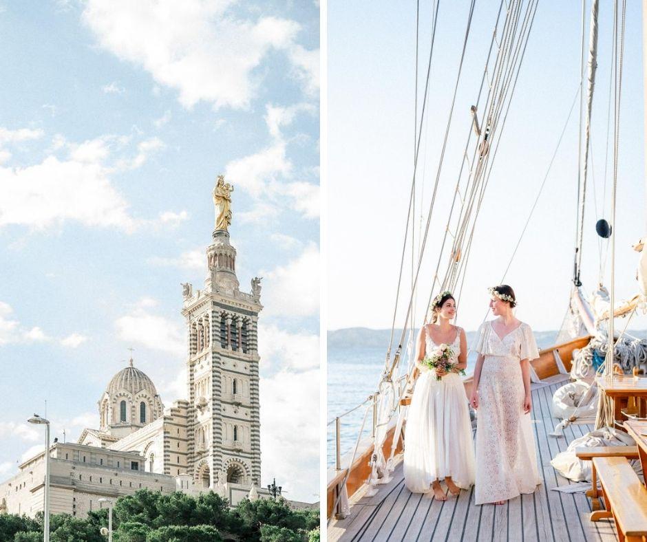 Couple de femmes en shooting Inspiration Mariage à Marseille