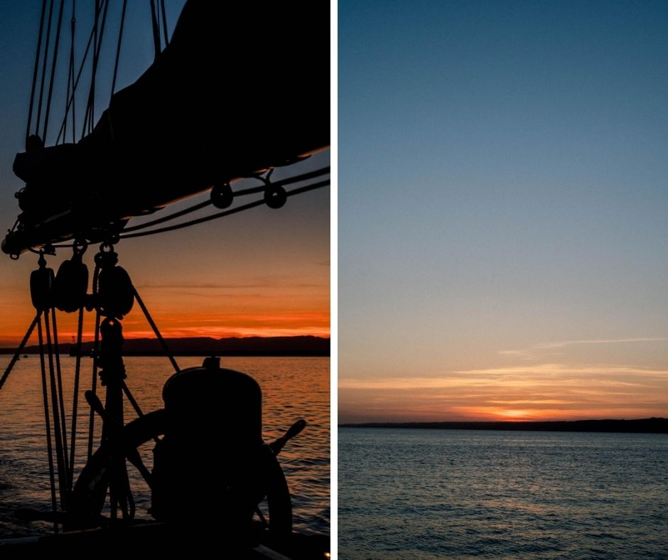 Coucher de soleil sur le don du vent somptueux voilier pouvant vous accueillir pour vos mariages en Provence à Marseille