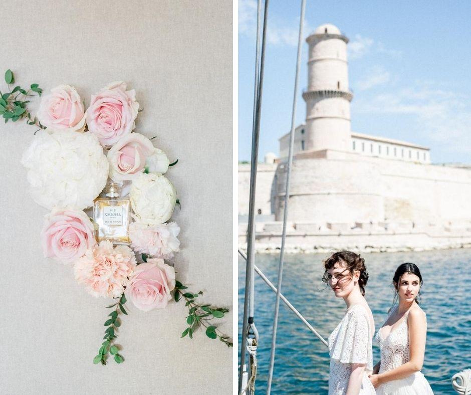 Femmes mariées sur le bateau le don du vent à Marseille