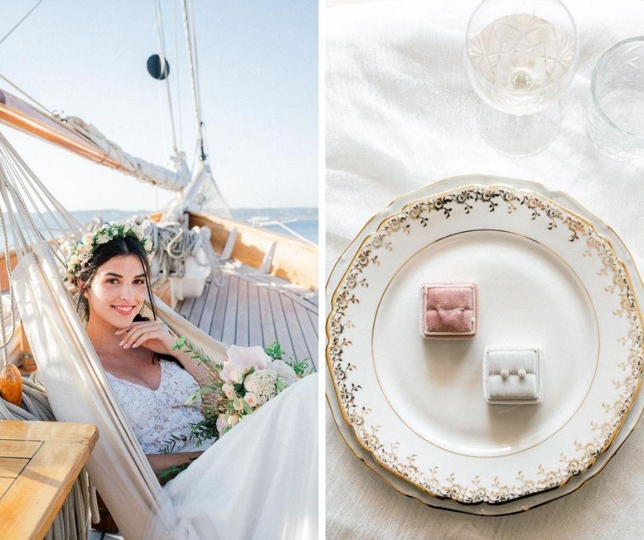 Mise en place de la table sur le shooting inspiration mariage organisé par Flora Maria, photographié par Sylvia Calmet