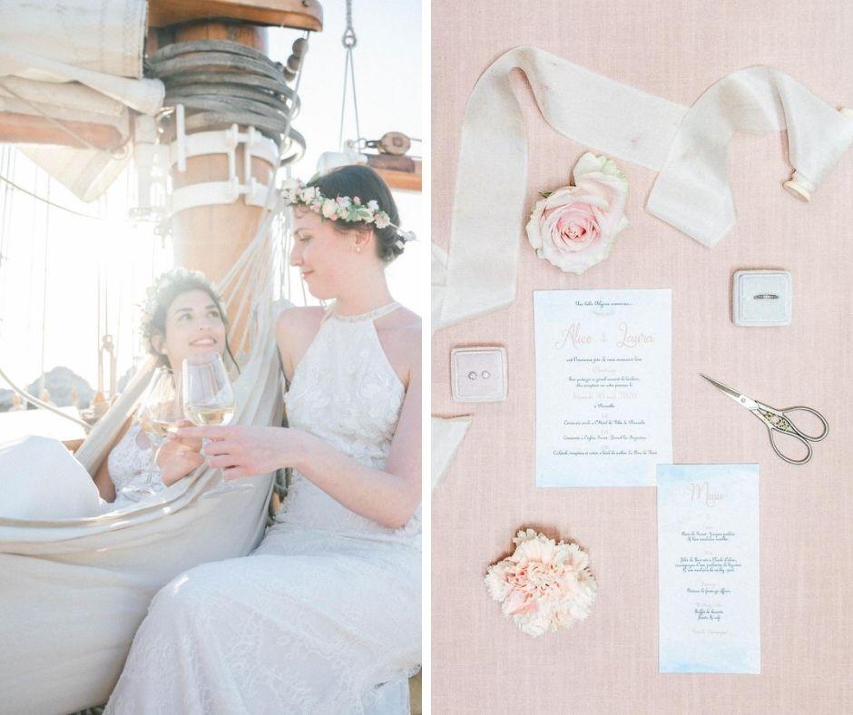 Flat lay et photos de couple réalisés sur le don du vent pour un shooting inspiration mariage à Marseille