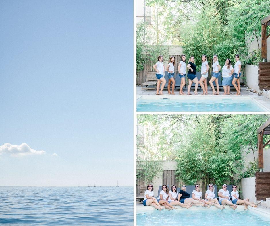 Groupe de filles en bord de piscine pour un enterrement de vie de jeune fille photographié par Sylvia Calmet