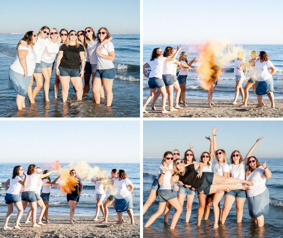 Enterrement de vie de jeune fille sur les plages de Montpellier en été 2020 par Sylvia Calmet