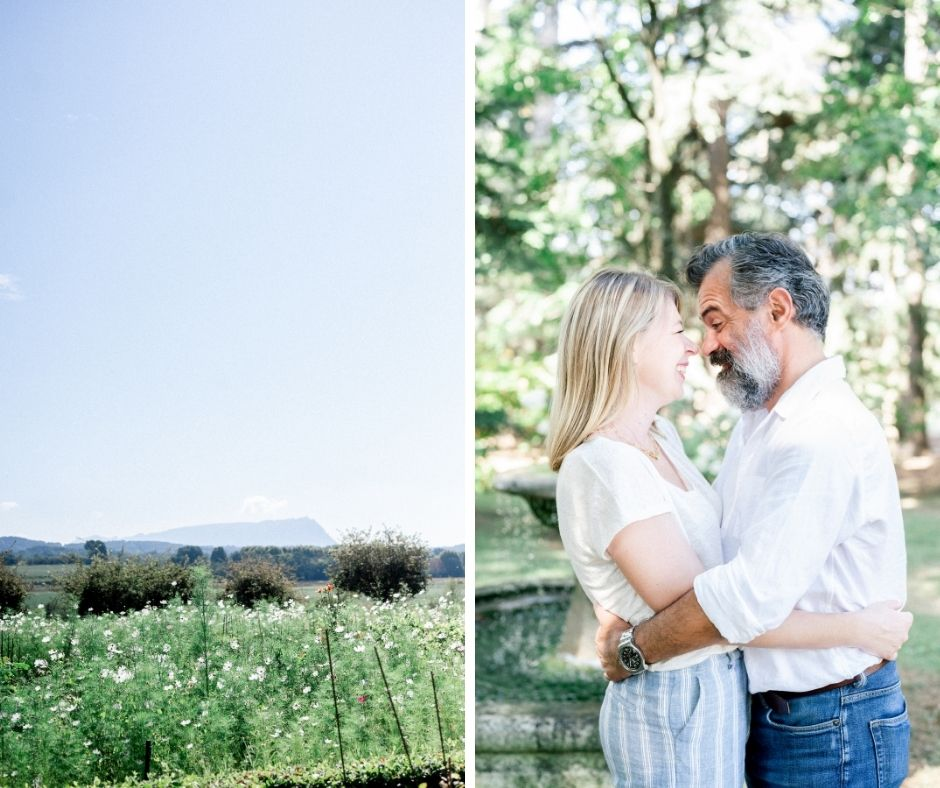 Couple aux jardins de romégas à aix en provence