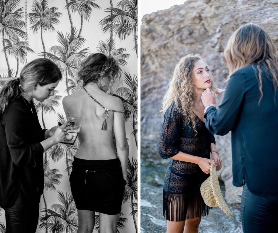 Melly Nomas maquillant Elia pour le shoting avec l'atelier Vol 707 de Ollioules
