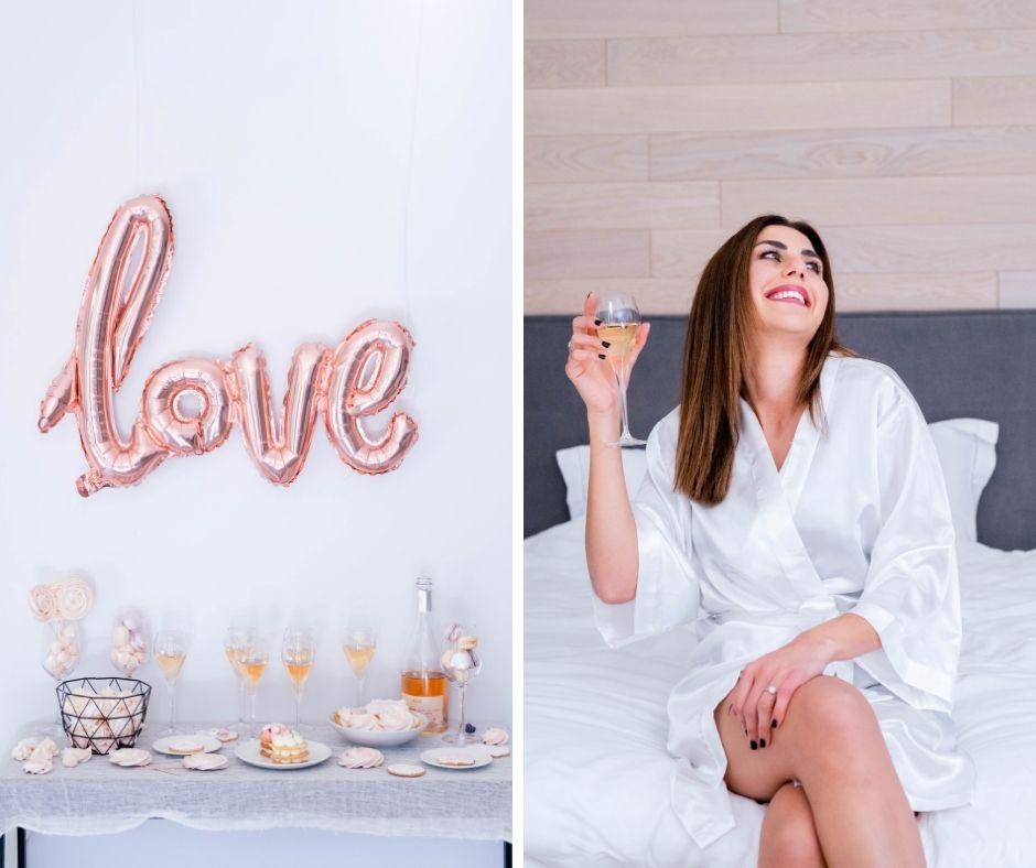 Future mariée savourant une coupe de champagne pour son evjf en provence