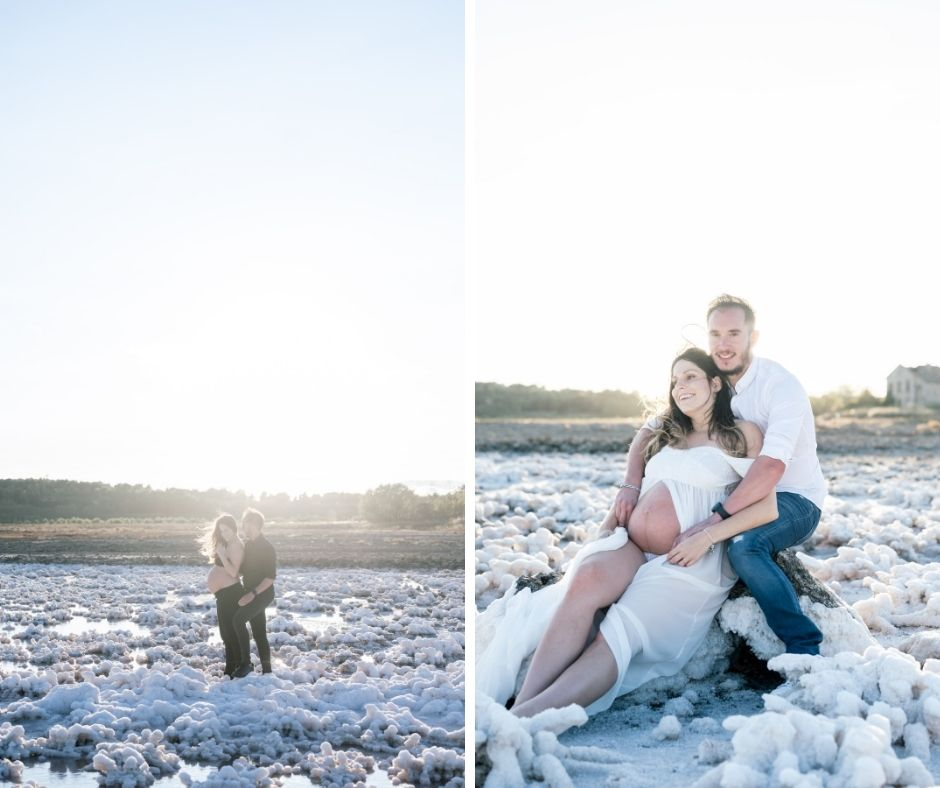 Couple en séance grossesse à l'étang de lavalduc