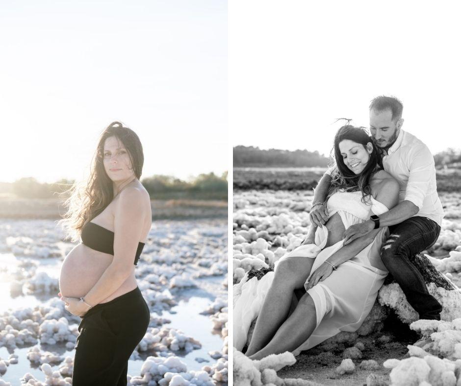 Femme enceinte et son mari pour leur séance photo par Sylvia Calmet photographe de famille à Salon de Provence