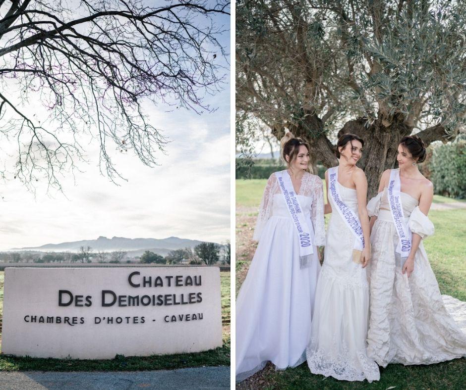 Les 3 finalistes du concours Miss Elegance PACA au château des demoiselles de la Motte