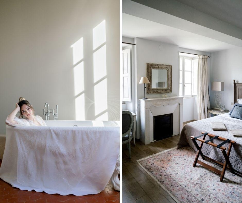 Méghanne en mariée dans la baignoire au Château des demoiselles de la Motte