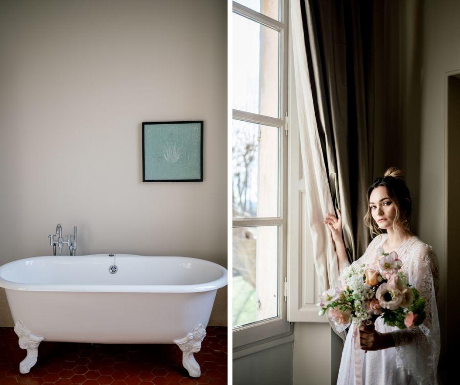 Méghanne entre baignoire et fênetre pour le shooting organisé par Miss Elégance Paca