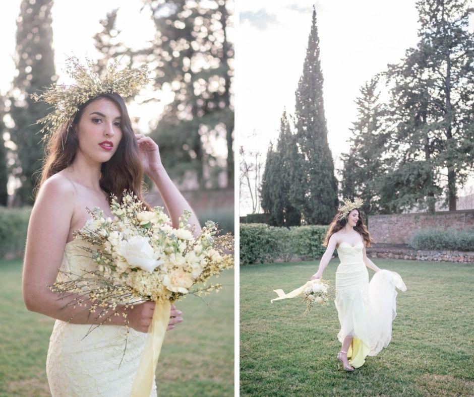 Mariée en mouvement dans le jardin du château des demoiselles de la motte